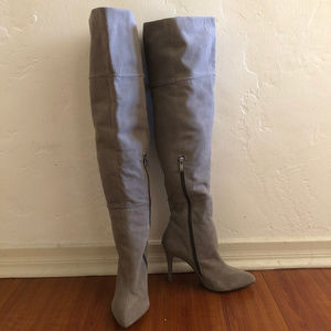 Gray Suede Over-the-knee heeled boots